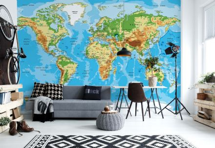 Blue Map of the World photomural wallpaper